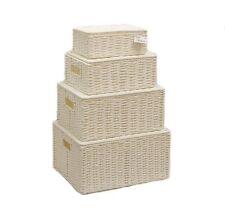 BIANCO Set di 4 CARTA FUNE Storage Cesto con coperchio per storages WB -9690 S4