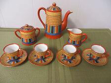 Colorful Vintage (14) Piece Japanese Miniature Tea Set Japan Teapot Collectible