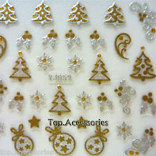 Christmas Tree/ Baubles/Design 3D Nail Art Decals Stickers#07046K Free P&P