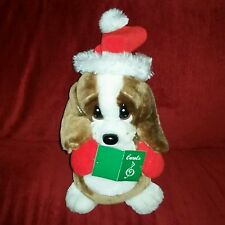 Dan Dee SAD SAM Christmas Caroler 10in Plush Hound Dog Red Socking Cap Mittens