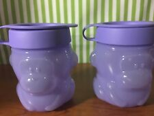 Tupperware New Monkey Snack Cups Set of Two 10oz Purple