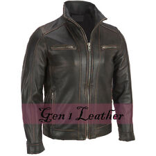 Men's FADED BLACK Rivet Giacca Biker in Pelle