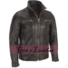 Men's Faded Black Rivet Biker Leather Jacket Sale
