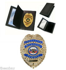 GOLD Concealed Weapons Permit Metal Badge & Wallet + CLIP HOLDER + NECK CHAIN