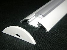 LED Aluminium Profile- Heat Sink P4, Painted WHITE, Clear Diffuser, End Caps, 1m