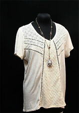 MAURICES CREAM SEMI SHEER LACE   TRIM TUNIC BUTTON BACK Top  Plus SIze 2 (2X)