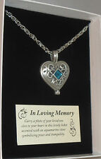 "Memorial Locket Necklace Heart Aqua Stone 24"" Chain Pewter In Loving Memory New"