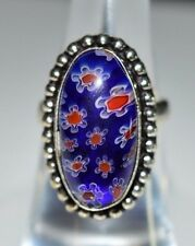 VTG .925 Sterling Silver Blue Red White Flower Glass Cabochon Ring Size 5.75