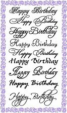 FLONZ Happy Birthday Greetings Calligraphy // unmounted clear acrylic stamp 852