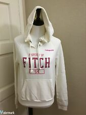 NWT Abercrombie & Fitch Women's Distressed LOGO GRAPHIC HOODIE, White, Small