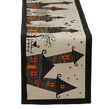 Haunted Hollow Halloween Haunted House Cotton Table Runner