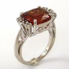 Solid 10K White Gold Madeira Citrine Natural Diamond Accent Ring Size 5