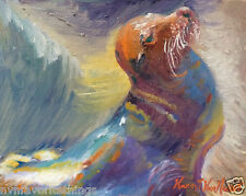 """NEW Sea Lion Seal 8""""x10"""" oil painting print Frameable Frame-able 1"""