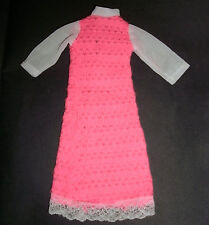 Vintage doll CLOTHES for Sindy, Barbie, Tammy: Pink knit maxi dress