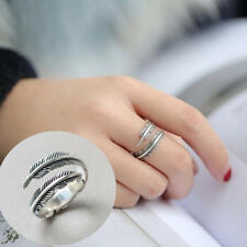 1Pc Fashion Feather Shaped Opening Adjustable Ring Elegant Jewelry Ornaments
