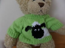 Hand Knitted Teddy Bear Jumper - Lime Sheep design - Build a Bear Clothes