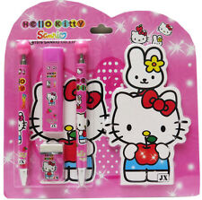 NEW 5pcs SET STATIONARY HELLO KITTY PEN PENCIL ERASER GIFT PACK KIDS GIRLS PINK