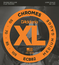 D'Addario ECB82 CHROMES FLATWOUND BASS STRINGS, MEDIUM GAUGE 4's  - 50-105