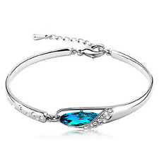 Fashion Women Silver Plated Crystal Chain Bangle Cuff Charm Bracelet Jewelry