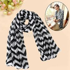Black Pretty Graceful Women Ladies Zig Zag Circle Double Loop Wrap Scarf Scarves