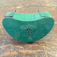 Vintage Old Pal Green Metal Live Fishing Bait Clip On Can Container