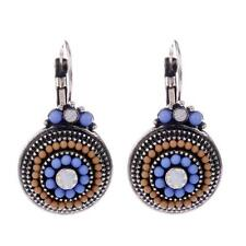 Blue Brown Small Lucite Bead Antique Look Silver Tone Circle Dangle Hook Earring
