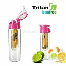 800ml Sports Fruit Water Bottle Infusion BPA Free Detox Drink Juice Cup Pink New