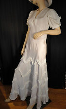 Vintage ivory Wedding Dress bridal Gown 30's bias SS sweep S ruffle M Floor Hem