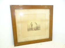 Antique Old Wood Praying Farmers Field Farm Landscape Print of Etching Dealer 30