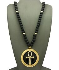 "NEW ANKH CROSS ROUND PENDANT &36"" WOODEN BEAD CHAIN HIP HOP NECKLACE - RC1952GBK"