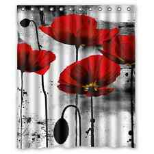 Beautiful Vintage Red Poppy Flower Ink Painting Fabric Shower Curtain 60x72