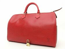 Louis Vuitton Authentic Epi Leather Red speedy 35 Purse Hand Bag Auth LV