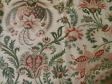 Antique 19thc French Arabesque Indienne Cotton Twill Fabric ~ Rose Green Blue