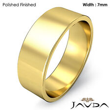 Wedding Band 7mm Plain 18k Yellow Gold Women Flat Pipe Cut Ring 7.4gm Sz 6-6.75