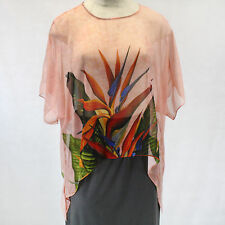 NEW NWT Cocoon House Coral Bird of Paradise Art 100% Silk Pointed Top Large/XL