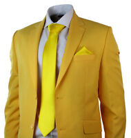 Mens Yellow Suit Blazer Trouser Tie & Hankie Party Wedding Prom Tailored Fit