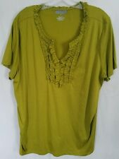 Lane Bryant plus size 2X green ruffle front v-neckline shirt top blouse NEW!