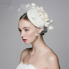 New Church Derby Cocktail Wedding Bridal Ivory Flower Pillbox Hat Veil Cap Band