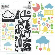 DOCRAFTS XCUT A5 NEW BABY BOY GIRL BIRTH ICONS PRAM COT & MORE CUTTING DIE SET