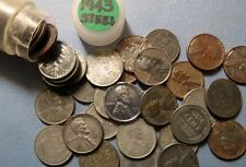 "1943  LINCOLN WHEAT EMERGENCY WAR ""STEEL"" PENNY, 1 Roll 50 Coins, Mixed Mints"