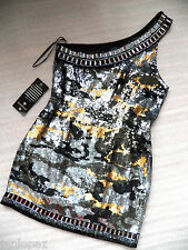 $300 NWT bebe top Dress black silver gold sequin stud one shoulder S small