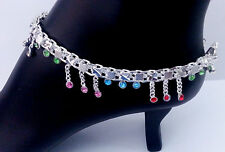 Indian Wedding Jewelry Bellydance Anklet Bracelet Silver Plated Multistone Payal