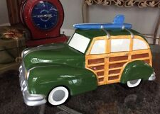 "1998 Clay Art Surf's Up Woody Wagon Car Cookie Jar 15"" Long XLNT Hard To Find!"