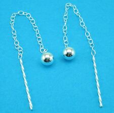 925 Sterling Silver 4mm Ball pull Through Threader Thru Earrings / Studs Drop