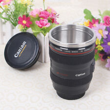 Canon Camera Lens Design Travel Coffee Mug Cup Thermos Stainless Steel Black Cup