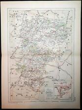 1886 impression antique couleur carte de l'AISNE LAON FRANCE carte française