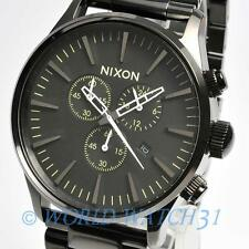 New NIXON Watch Sentry CHRONO Polished Gunmetal Lum  A3861885 A386-1885