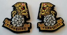 Yorkshire Regiment Collar Badges, Mess Dress, Army, Military, New, Embroidered