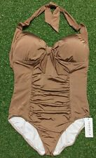 New Seafolly Coffee Halter Maillot - Size AU16 / US12 / UK16