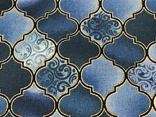 Fabric Stained Glass Tiles Sapphire on Cotton by the 1/4 yard BIN